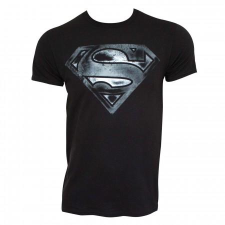Superman Logo Black & White Distress Men's T-shirt