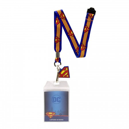 Superman Lanyard With Badge and Rubber Charm