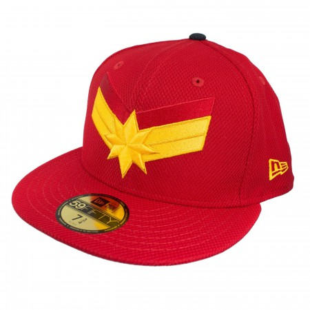 Captain Marvel Scarlet Navy New Era 5950 Fitted Hat