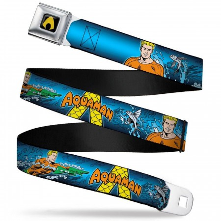 Aquaman Logo Action Pose Seatbelt Belt