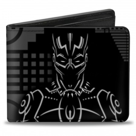 Black Panther Tribal Silhouette Pose and Icon Bi-fold Wallet
