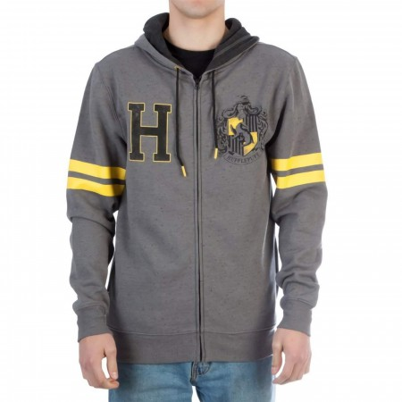 Harry Potter Hufflepuff Men's Grey Zip Hoodie