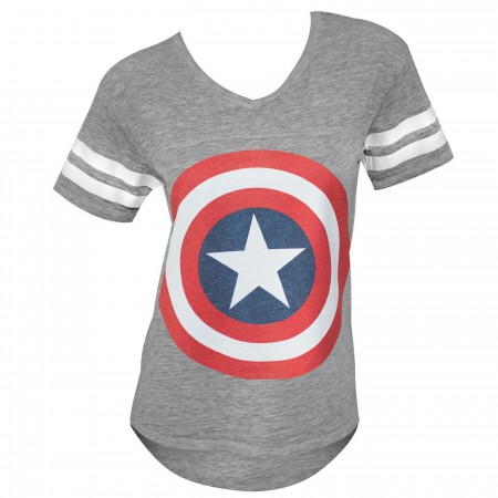 Captain America Symbol Juniors Varsity Athletic Grey T-Shirt