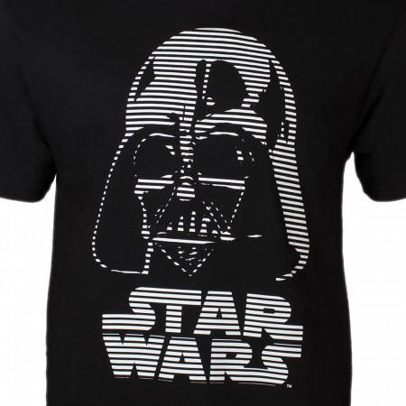 Star Wars Darth Vader Helmet Dashed Blinds Men's Black T-shirt
