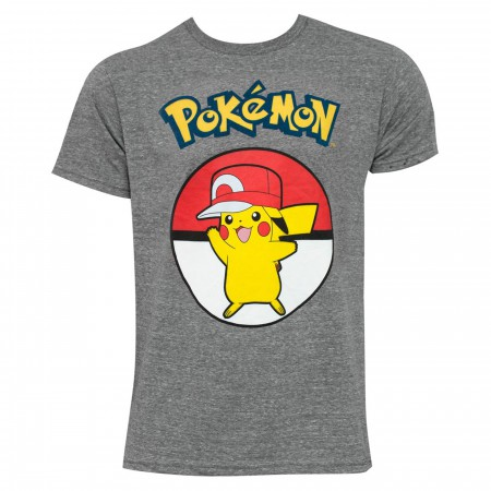 Pikachu Wearing Hip Hop Hat Men's Grey T-Shirt