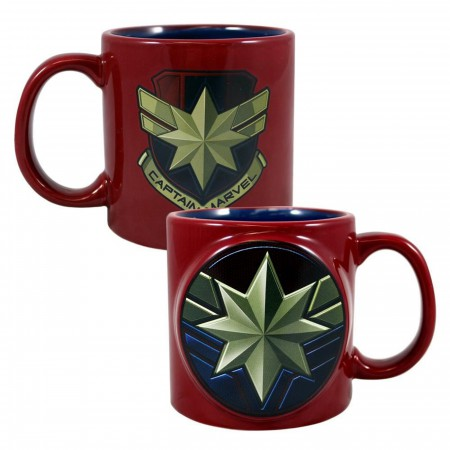 Marvel Captain Marvel Badge 20 oz. Bas Relief Ceramic Mug