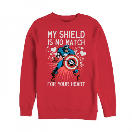 Valentine's Captain America No Shield For Heart Men's Sweatshirt