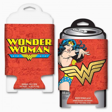 DC Comics Wonder Woman Gold Foil Logo Can Cooler w/ card