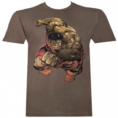 Incredible Hulk Punch Men's Brown T-Shirt