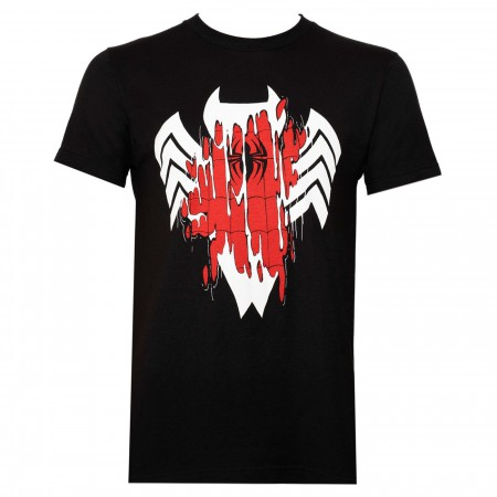 Venom Transforming Spider-man Black Men's T-Shirt