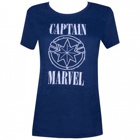 Captain Marvel Movie White Text and Symbol Women's T-Shirt