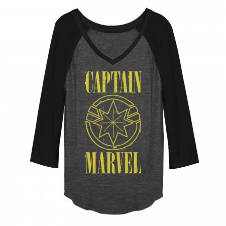 Captain Marvel Stained Star Symbol Women's V-Neck Raglan T-Shirt