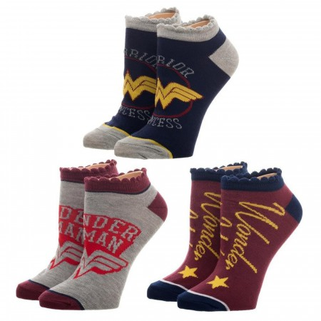 DC Comics Wonder Woman 3 Pair Ankle Socks