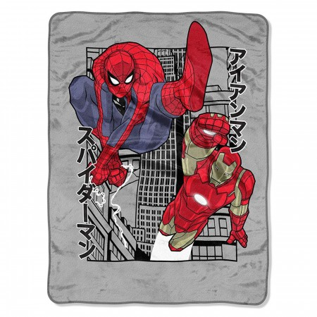 Avengers Spider-Man and Iron Man Power City Blanket