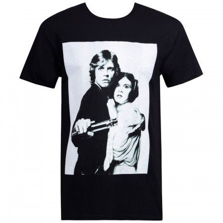 Star Wars Luke And Leia Grayscale Black Men's T-Shirt