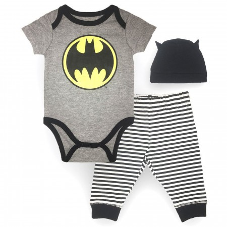 Batman 3-Piece Infant Bodysuit Pant and Hat Set