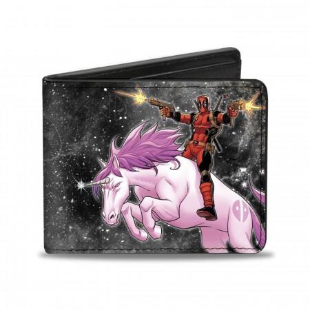 Deadpool Riding a Charging Unicorn Bi-fold Wallet