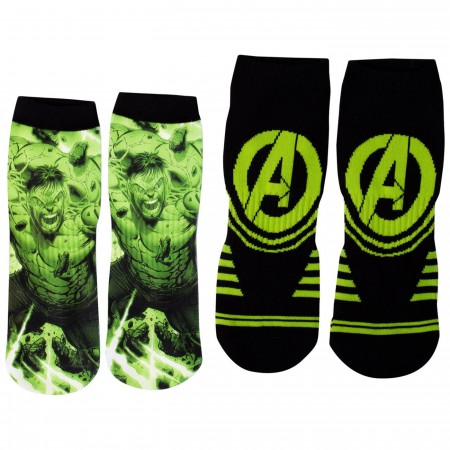 Incredible Hulk Two Pair No-Show Athletic Socks