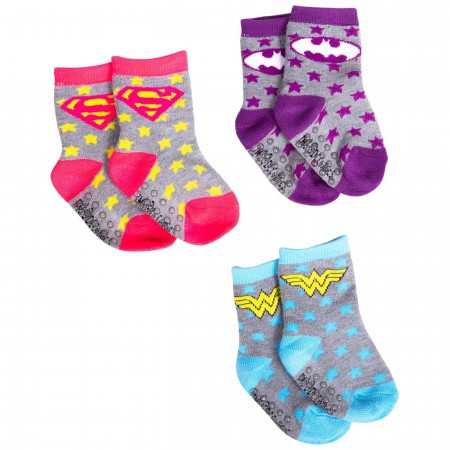 Justice League Three Pack Athletic Infant Socks