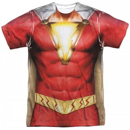 Shazam Movie Costume Uniform Sublimated Front and Back Print Men's T-Shirt