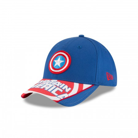 Captain America Symbol with Text Brim  New Era 940 Adjustable Hat