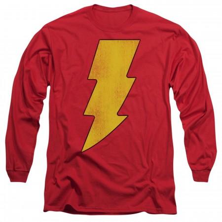 Shazam Distressed Logo Long Sleeve Shirt