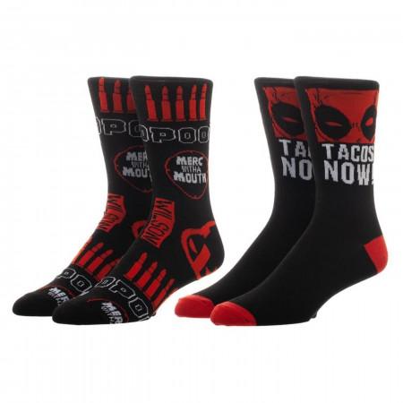 Marvel Deadpool 2 Pack Crew Socks