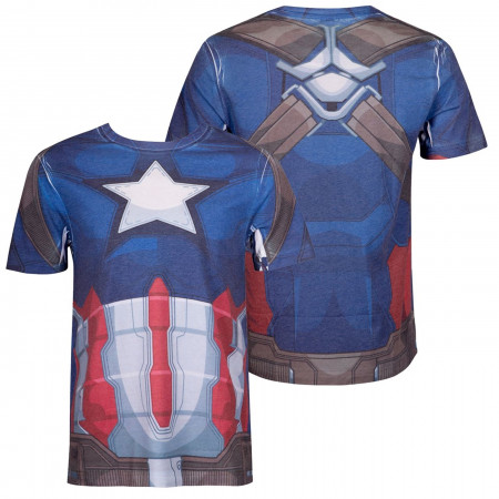 Captain America Costume Sublimated Men's T-Shirt