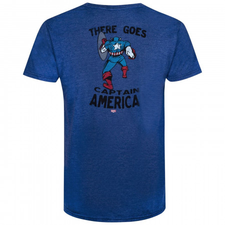 Captain America Hi & Bye Front and Back Print Retro Brand Vintage Tee