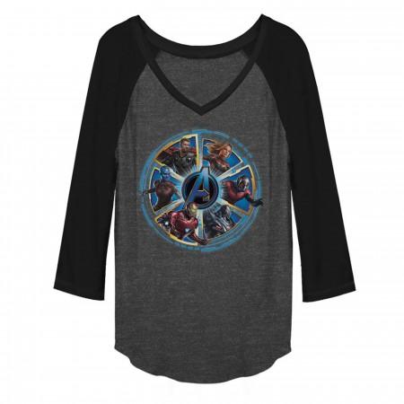 Avengers Endgame Circle Heroes Women's Long Sleeve V-Neck Raglan