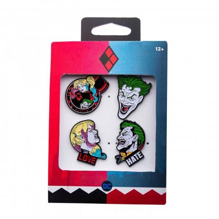 Joker and Harley Quinn Face 4-Piece Enamel Pin Set