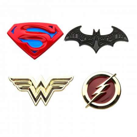 Justice League Superman, Batman, Wonder Woman and The Flash Enamel 4-Piece Pin Set