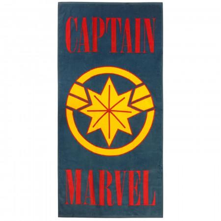 Captain Marvel Symbol Beach Towel