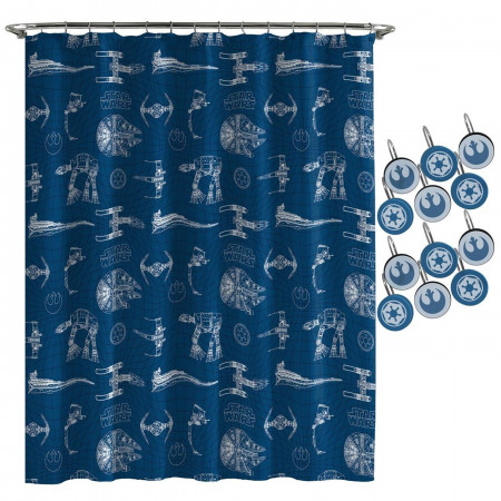Star Wars Vehicles Grid Shower Curtain & Hook Set