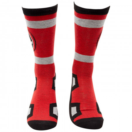 Deadpool Costume and Symbols Men's 2-Pack Crew Socks