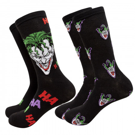 Joker Haha and Faces Men's 2-Pack Crew Socks