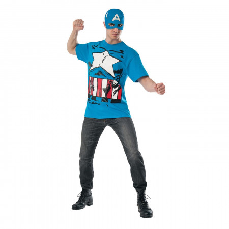 Captain America Costume T-Shirt with Mask