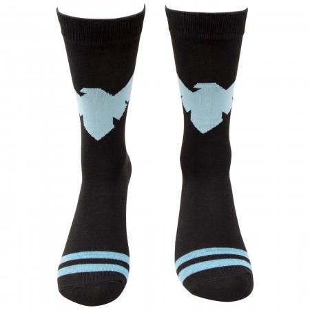 Nightwing Symbol Striped Crew Socks