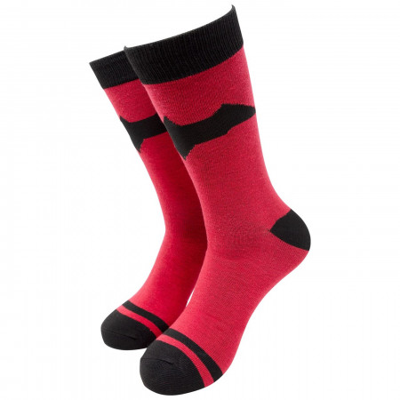 Red Hood Symbol Striped Crew Socks