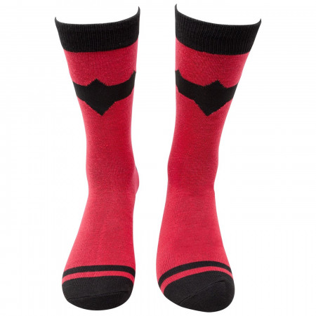 Red Hood Symbol Striped Crew Socks