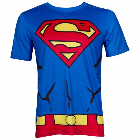 Superman Performance Athletic Costume Adult T-Shirt with Muscles and Belt Design
