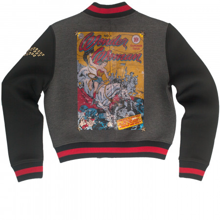 Wonder Woman Pierce Warrior Comic Print Varsity Jacket