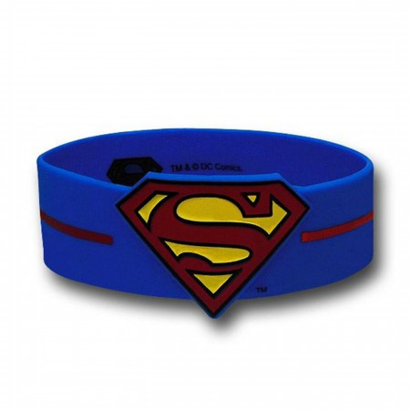 Superman Symbol and Logo Striped Rubber Wristband
