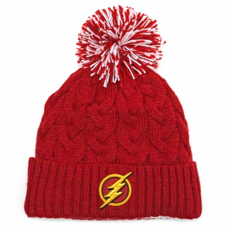 Flash Symbol Speed Force Cable Weave with Pom Unisex Knit Beanie