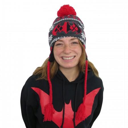 Harley Quinn Batman Symbol Peruvian Beanie