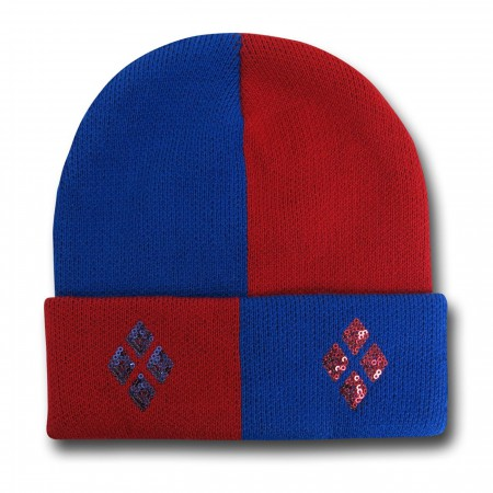 Harley Quinn Red and Blue Sequin Cuff Beanie