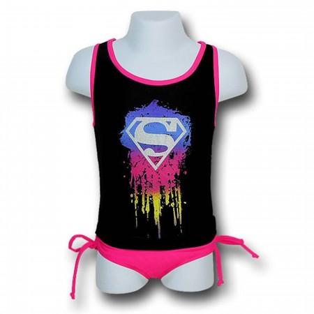 Supergirl Girls Paint Splash Tank Bikini Set