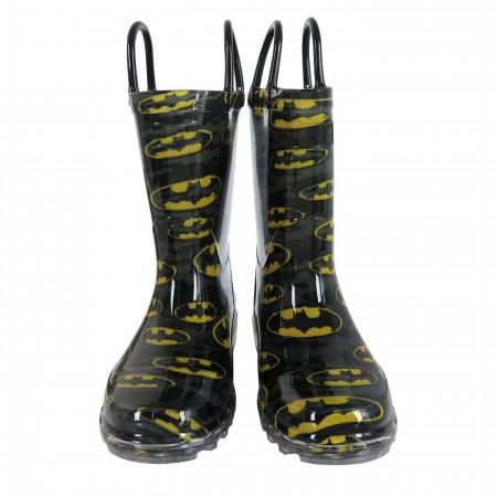 Batman Bat-Signal Night Lighted Kids Rain Boots