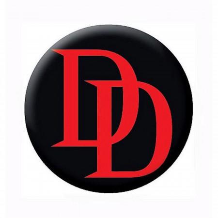 Daredevil Red Logo Black Button