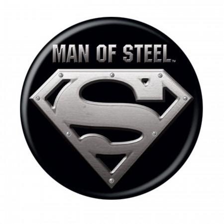 Superman Man of Steel Black Button